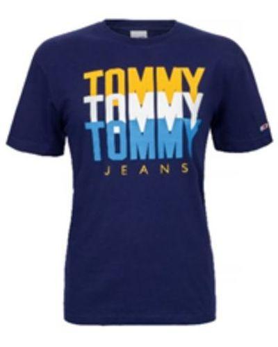 Tommy Hilfiger Jeans, T-shirt męski 713, Indigo, Rozmiar XL
