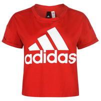 Adidas Logo Crop koszulka damska, czerwona