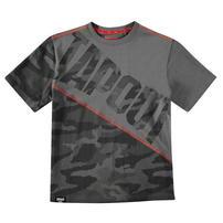 Tapout Camouflage Panel, koszulka dla chłopca, węgiel drzewny, Rozmiar 7-8 lat