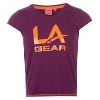 LA Gear Logo V Neck koszulka dla dziewczynki, fioletowa