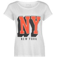 JDY Sparkle Print koszulka damska, biała, Rozmiar XS