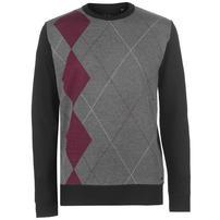 Pierre Cardin Argyle sweter męski, czarno-szary